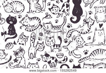 Vector seamless pattern with hand draw funny cats in sketch style. Black and white endless background.