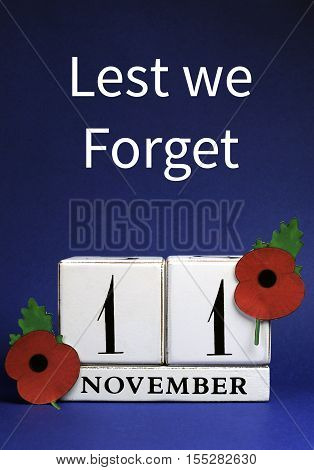 Remember, Armistice And Veterans Day Calendar With Text.