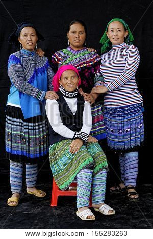 Sin Cheng, Vietnam, October 26, 2016 : Women In Front Of A Black Sheet. Hmong Women Of North Vietnam