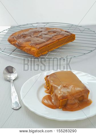 Pumpkin sticky pudding with toffee caramel sause.