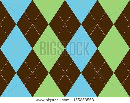 Brown green argyle seamless pattern. Flat design. Vector illustration.