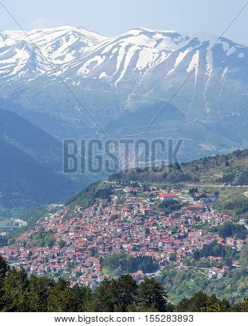 View of Metsovo town, Lakmos mountain in the background, Epirus, Greece