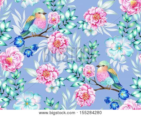 bouquet of exotic flower with a small colorful tropical bird. Amazing detailed botanical illustration. Hyper real colors and detailed. Artistic bouquet.