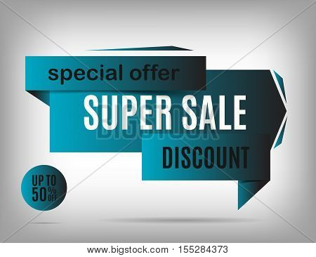 Deep blue sale banner design. Discount poster special offer. Vector illustration eps 10