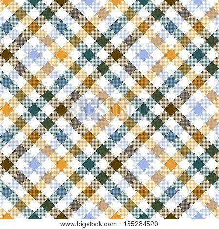 Colored diagonal check shirt seamless fabric texture. Vector illustration.