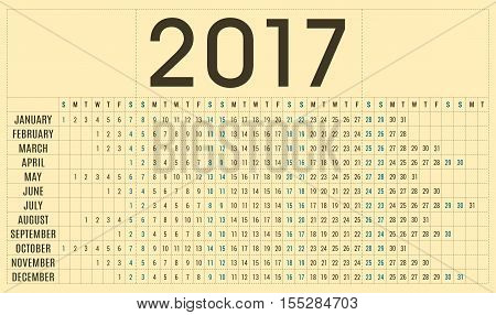 Simple 2017 planner calendar - day schedule and organizer