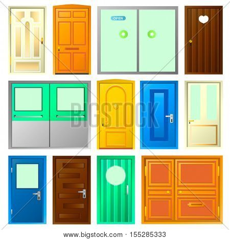 Set of doors. Vector colorful interior and hinged door illustration. Isolated on white background.