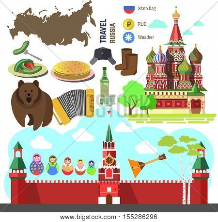 Set of Russia travel symbols and Moscow landmarks. Russian flat vector illustrations: Kremlin and orthodox church/cathedral, accordion and balalaika, matrioshka doll, bear and birch, flag and map.