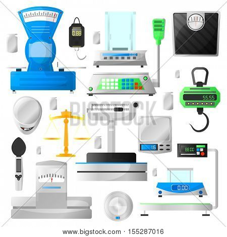 Set of scales and colorful cas weighing machines. Vector collection of scales illustration. Modern design for catalogs and POS-materials. Isolated on white background.