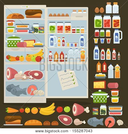 Opened refrigerator and set of fresh and natural food: bottle of milk, dairy, apples, meat and vegetables, cheese and egg, fruit juice. Kitchen fridge and freezer. Vector illustration in flat style.