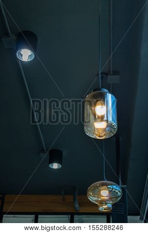 Vintage hanging light bulb decoration stock photo