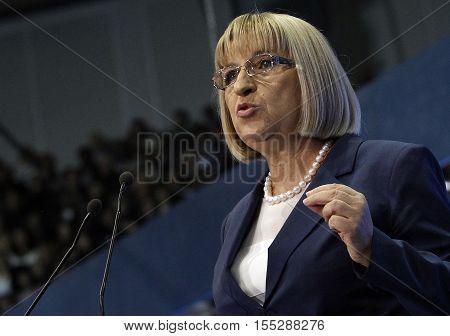 SOFIA BULGARIA - OCTOBER 9: GERB's presidential candidate Tsetska Tsacheva spoak during launching 2016 Presidential Campaign Oct 9 2016 Sofia Bulgaria.