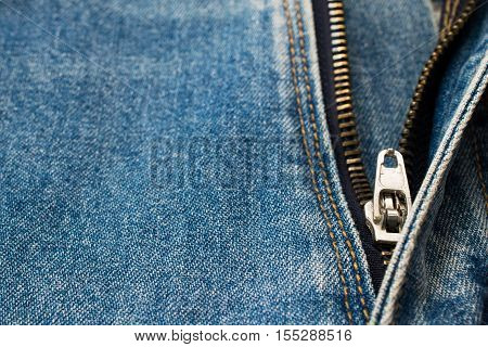 Close And Open Of Denim Jeans, Looking On Zip Or Slide-fastener.