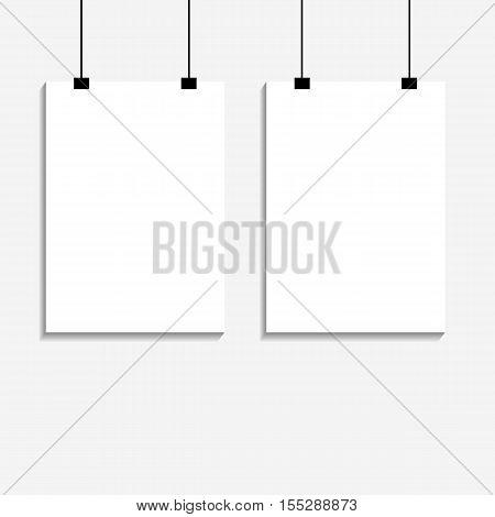 Two White Empty Poster Mockup On Bg