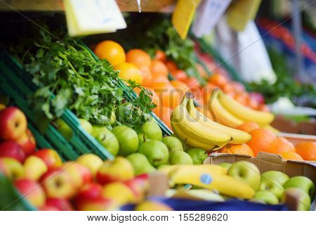 Fresh Healthy Bio Fruits And Vegetables On Bremen Farmer Agricultural Market