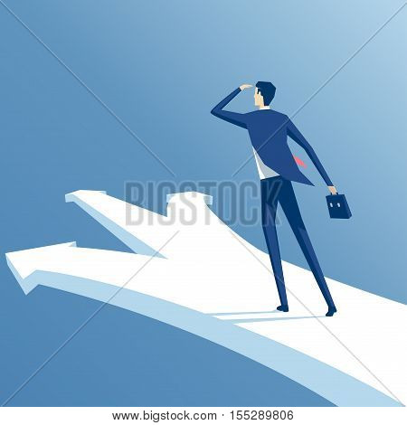 businessman stands at a crossroads confused employee trying to make the right choice business concept opportunities and options vector illustration