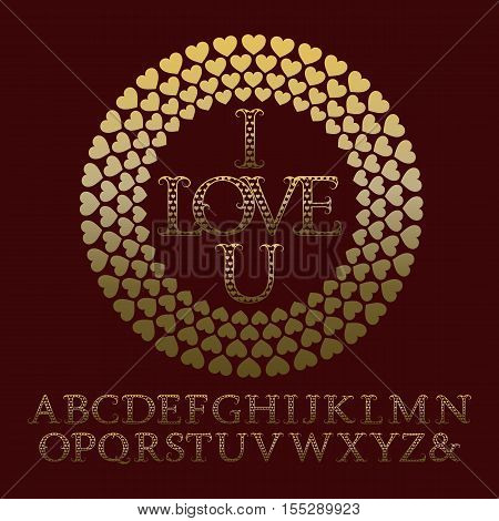 Gold patterned letters with tendrils. Vintage font in romantic style. Isolated english alphabet with text I Love U in hearts frame.