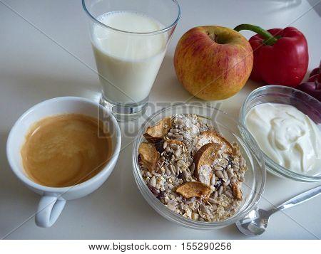 Fresh Healthy Breakfast With Musli Yoghurt And Fruit