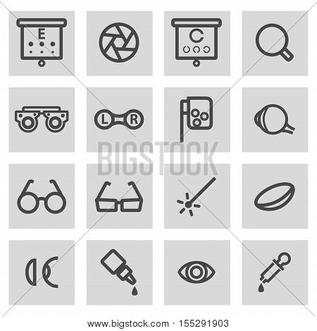 Vector black line optometry icons set on grey background