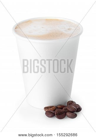 paper cup of coffee with foam isolated on white background. Coffe-to-go. Take-out coffee cup and coffee beans isolated on white background. Cup of coffee with beans isolated on white. Takeaway coffee cup. Coffee cup isolated. Cappuccino