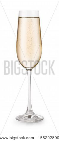 Glass of champagne isolated on white background with clipping path. Champagne glass on white background. Champagne with bubbles in a glass isolated on white