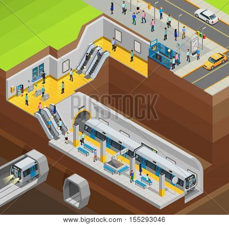 Underground isometric design composition with city station and trains vector illustration