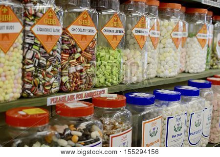MOFFAT, UK - NOVEMBER 5, 2016: A large mix of various sweets and toffees in a local Moffat sweet shop, Moffat, Scotland, UK