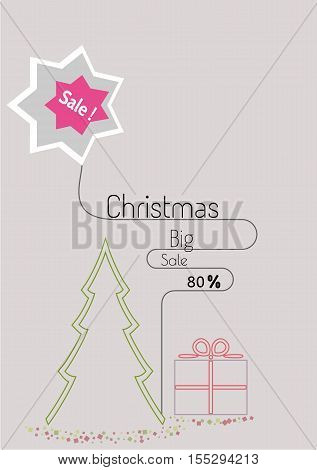 Christmas special offer sale poster in simple flat linear style with present. Illustration contains text: Christmas Big Sale 80%