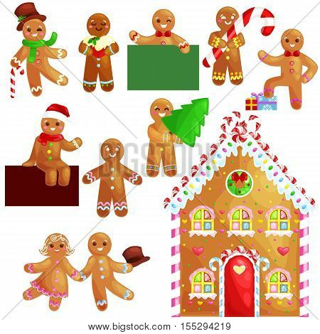 set christmas cookies gingerbread man and girl near sweet house decorated with icing dancing and having fun in a cap with the Christmas tree and gifts, xmas sweet food vector illustration.