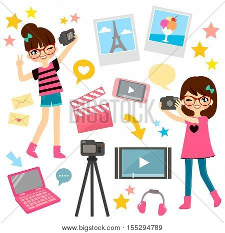young girls and items related to video blogging and film making
