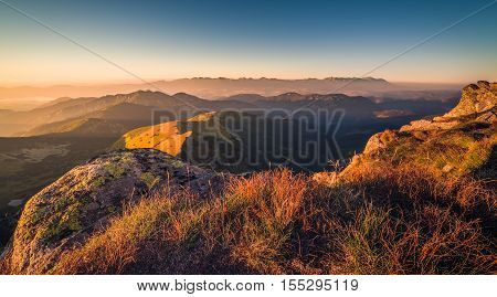 Mountain Landscape at Sunset. View from Mount Dumbier in Low Tatras Slovakia. West and High Tatras Mountains in Background.
