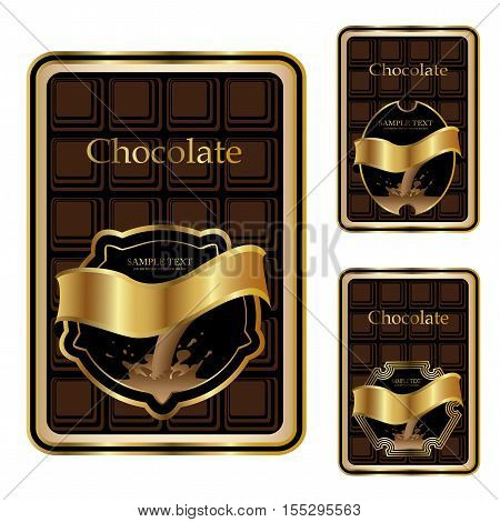 Vector brown golden chocolate labels on white background - illustration