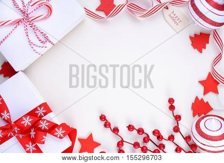 Festive Red And White Theme Christmas Holiday Background