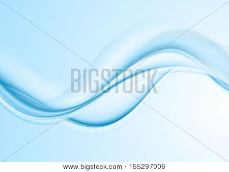 Light blue abstract curved wavy background. Smooth waves vector design