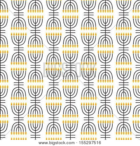 Hanukkah seamless pattern. Hanukkah symbols. Hanukkah candles menorah. Vector illustration for Jewish holiday Hanukkah.