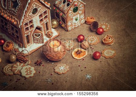 Homemade gingerbread house and christmas cookies