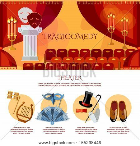 Theater infographics comedy and tragedy masks theater stage curtain theater vector illustration