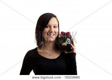 Young Woman Piggybank Shoulder Closeup
