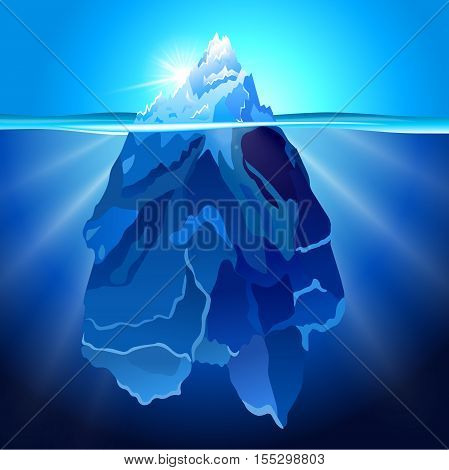 Realistic Iceberg in water background. Vector illustration.