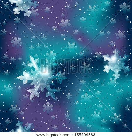 Dark blue and purple seamless pattern with delicate transparent snowflakes. Graphics are grouped and in several layers for easy editing. The file can be scaled to any size.