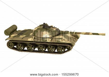 Image of a military tank with cannon isolated on white background T-62
