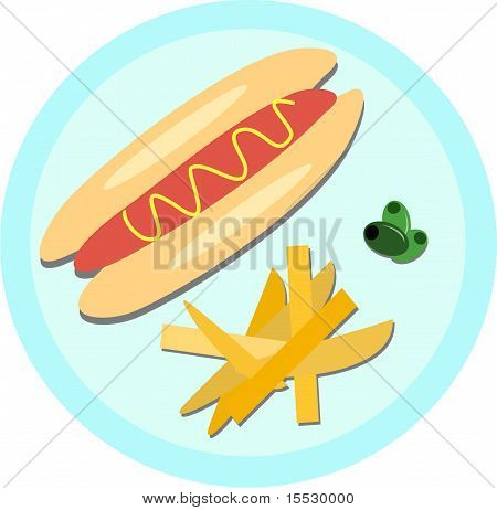 Hot Dog, Fries, and Olives