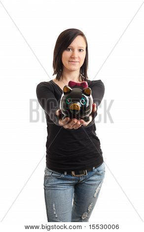 Young Womand Piggy Bank Presenting