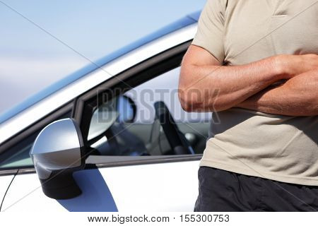 New car owner leaning on car. Confident man driver driving car. Car maintenance service mechanic or repair garage support technician concept.