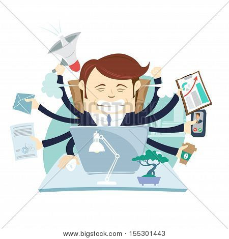 Busy Tired Angry Businessman Multitasking At Desk In Office Working Hard