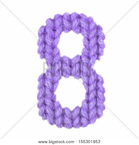 Number 8 (eight) alphabet on a blurry texture knitted pattern of woolen thread closeup. One figure of the alphabet. Education and holidays. Typography design. Color purple