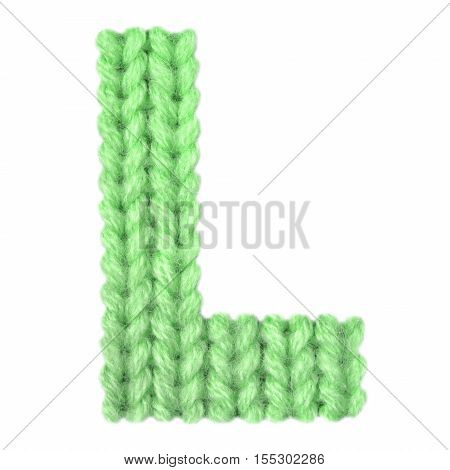 Letter L alphabet on a blurry texture knitted pattern of woolen thread closeup. One letter of the English alphabet. Education and holidays. Typography design. Color green
