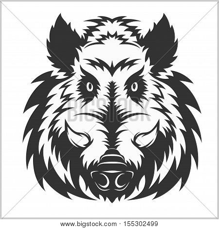 Wild Boar Head Logo Mascot Emblem - isolated on white