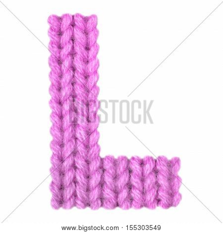 Letter L alphabet on a blurry texture knitted pattern of woolen thread closeup. One letter of the English alphabet. Education and holidays. Typography design. Color pink