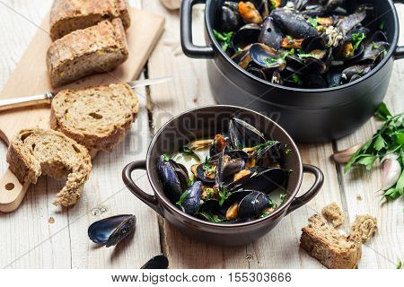 Fresh Ingredients For A Dish Cooked With Mussels